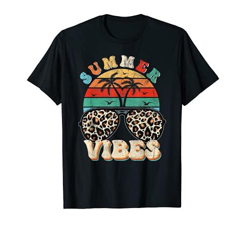 Retro Summer Vibes Leopard Gafas de sol de verano amante Camiseta