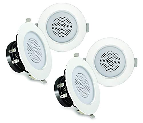 "Pyle 3"" Bluetooth Flush Mount in-Wall in-Ceiling 2-Way Home Speaker System Built-in LED Lights Aluminum Housing Spring Loaded Clips Polypropylene Cone & Tweeter Stereo 200W, Set of 4 (PDIC4CBTL3B)"