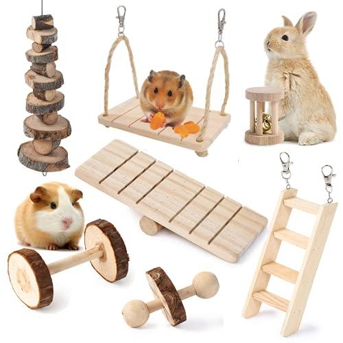 JanYoo Kaninchenspielzeug Meerschweinchen Chinchilla Bunny Hamster Kauspielzeug Rennmäuse Ratten Übung Molar Holz Roller Schaukel Leiter (7 Stück)