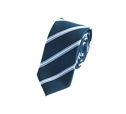Fabio Farini – Herren Krawatte elegant gestreift für Hochzeit, Konfirmation, Ball in 6 cm oder 8 cm zur Auswahl petrolblau weiß silber grau grünblau Schmal (6cm)