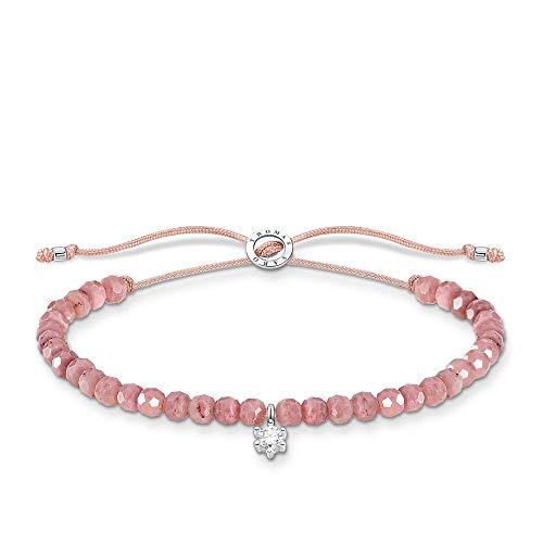Thomas Sabo Pulsera de perlas rosas con piedra blanca, plata de ley 925, 13-20 cm de longitud