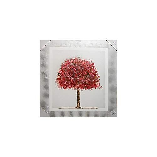 Arcibold Home Diseño árbol de Vida, Decorativo, Moderno - 68x68 cm - Color Rojo, Cuadro árbol de la Vida Rojo Pintado a Mano, óleos acrílicos y ecológicos.