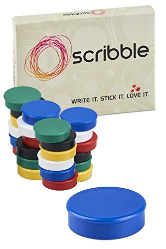 Scribble - Imanes de nevera, Colores surtidos, 24 Piezas, 25 mm