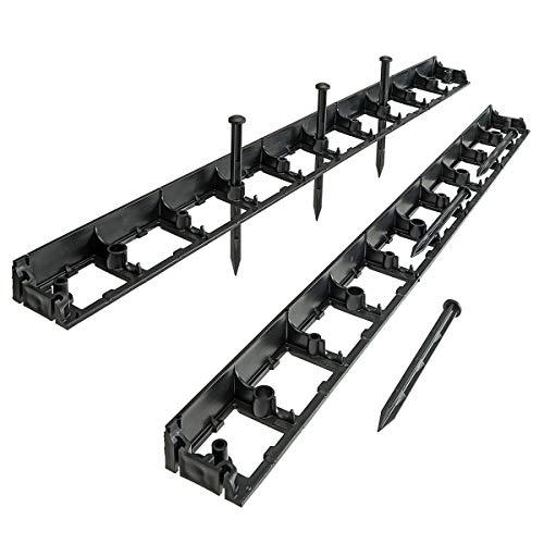 HaGa® Rasenkante Garden Rand - 2 St. Beetumrandung 1000mm x 80mm x 45mm - Pflastersteine Mähkante mit 6 Befestigungsstiften in schwarz
