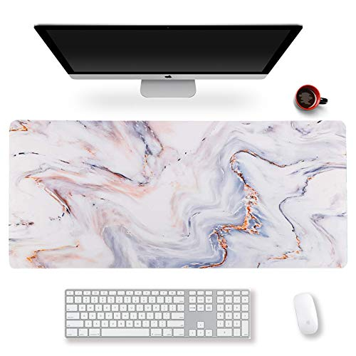 Extended Gaming Mouse Pad XXL ArtSo Large Keyboard Mat Long Mousepad Desk Decor Writing Pad Non Slip Rubber Base Stitched Edges for Work, Game, Office, Home, 35.1' x 15.7' , White Gold Marble