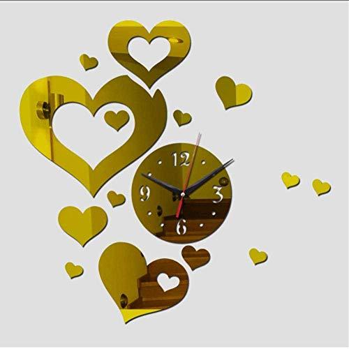 SSCLOCK Reloj de Pared deacrílico Flor de acrílico Grande Espejo DIY Etiqueta de la Pared 3D Decoración del hogar Sofá Fondo Decoración del Dormitorio 47 Pulgadas