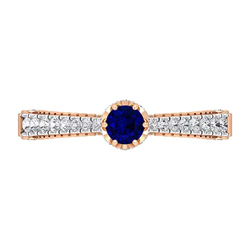 Vintage Blue Sapphire Ring, Diamond Ring, Gold Solitaire Ring with Side Stones (4 MM Blue Sapphire), 14K Rose Gold, Size:UK M