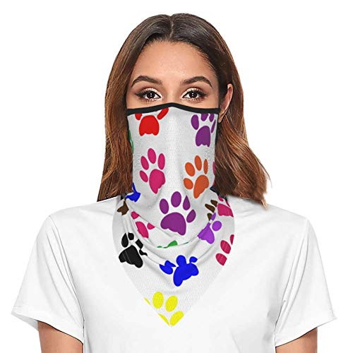 Paw Print Neck Gaiter Face Mask With Ear Loops Outdoor Breathable Scarf For Men Women