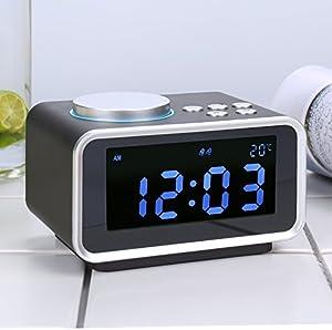 LTOOD musique électronique radio-réveil numérique créative nuit lumière son tête de lit simple étudiant multi fonctions réveil,Black