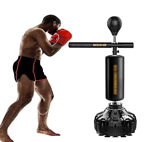 SABYDICAR Bolsa de Boxeo con Soporte, Reflex Fight Ball con Brazo oscilante de 360 Grados, Saco de Boxeo de Entrenamiento de Plataforma Pesada, Equipo de Fitness Ajustable móvil para Gimnasio en casa