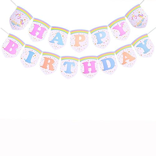 Happy Birthday Banner Unicorn Rainbow Pennant Unicorn Party Supplies for Girls Birthday Party Decoration
