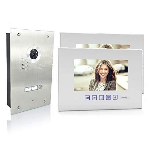 4 Draht Video Türsprechanlage Gegensprechanlage 2x7'' Monitor, Türstation für 1 Familienhaus, 170° Weitwinkel-Kamera