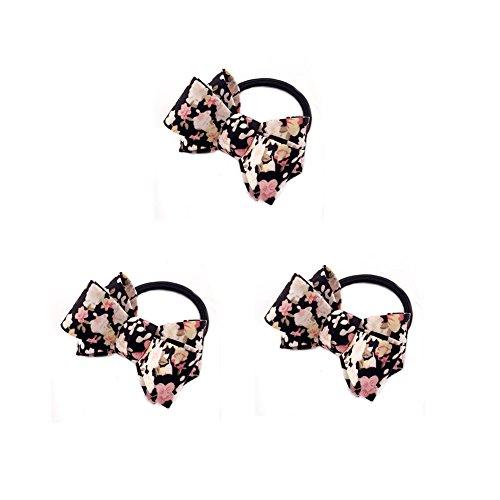 3 Packs Élégant Tissu Tissu Cheveux Accessoires Boutique Multicolore Arc Élastique Cheveux Cravates Porte-Queue pour l'école Cheerleading