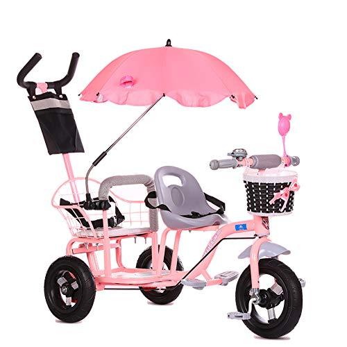 CHEERALL Kinder-Doppel-Dreirad-Fahrrad, Doppel-Kinderwagen mit Klapppedal, Sommer-Kinderwagen-Doppelsitz für Kinder im Alter von 1-6 Jahren,Pink