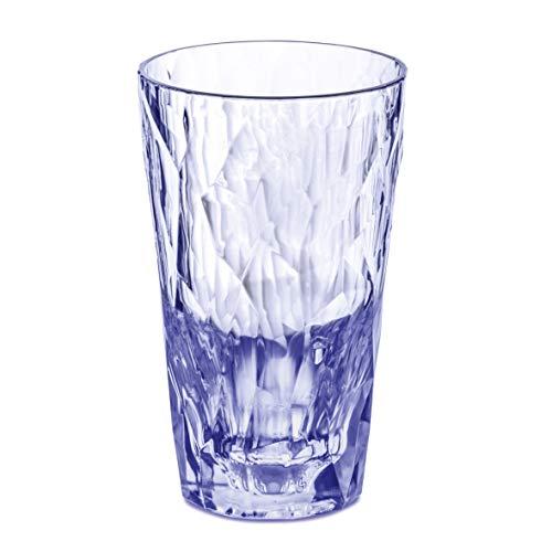 Koziol Trinkbecher Club NO. 6, 300ml, Superglas by, Diamant-Optik, hohe Isolierung, spülmaschinengeeignet, bruchresistent, blau