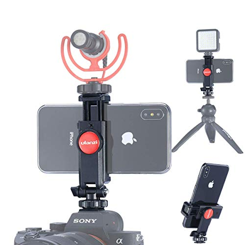 ST-06 Camera Hot Shoe Phone Tripod Mount Adapter 360 Rotation Phone Holder with Cold Shoe for Mic Light Stand Compatible with Canon Nikon Sony DSLR for DJI Ronin SC Gimbal Stabilizer