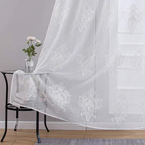 Topfinel Stickerei Voile Gardinen mit Ösen in Leinen-Optik Barock Vintage für Wohnzimmer Fenster Tüll Vorhänge Transparente Dekoschal 2er Set je 145x140cm (HxB) Weiß