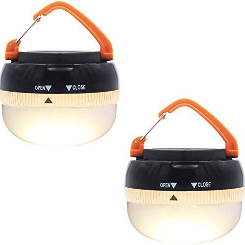 LABYSJ Hellste LED-Laterne tragbare Camping-Leuchten im Freien Zelt-Licht Hänge Camping-Lampe mit 5 Modi, Restractable Hook (2-Pack)