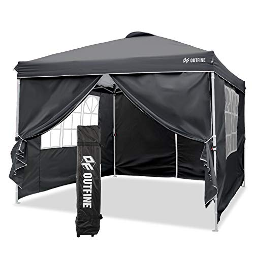 OUTFINE Canopy 10'x10' Pop Up Commercial Instant Gazebo Tent, Fully Waterproof, Outdoor Party Canopies with 4 Removable Zippered Sidewalls, Stakes x8, Ropes x4 (Black, 1010FT)
