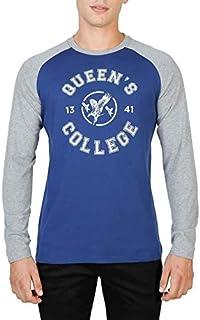 Oxford University Men's QUEENS-RAGLAN-ML T-shirt Blue