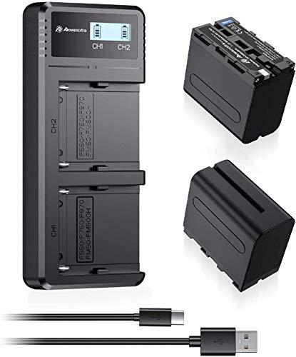 Powerextra Reemplazo Cargar Rápido Batería NP-F970 NP-F960 NP-F930 NP-F950 Cámara 2 X Baterías con Cargador 8800mAh DCR-VX2100 DSR-PD150 DSR-PD170 FDR-AX1 HDR-AX2000 HDR-FX1 HDR-FX7 HDR-FX1000