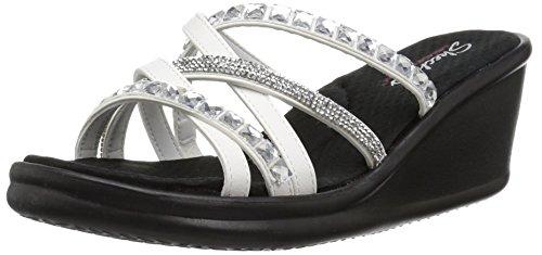 Skechers Women's Rumblers-Glass Flowers-Rhinestone Multi-Strap Slide Sandal Wedge, White, 7 M US