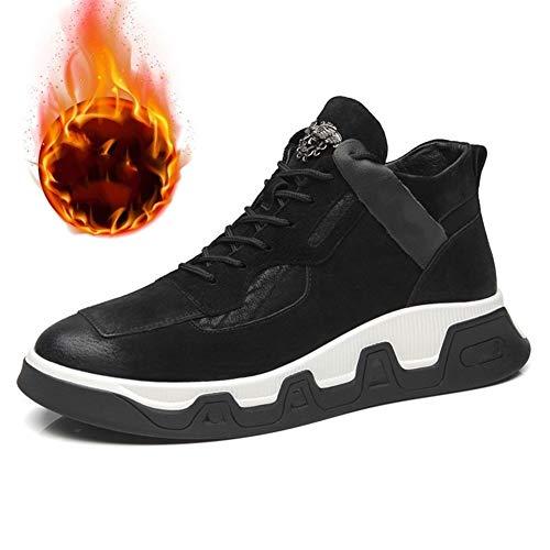 Heren Enkellaarzen Mode Sneakers Voor Mannen Enkellaarsje Lace Up Suede Bovenste Fleece Gevoerd Warm Lichtgewicht Platte Jeugd Tide Oefening Split Gezamenlijke Schoenen Mode Laarzen