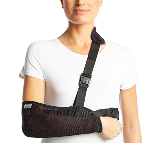 ArmoLine Armschlinge, atmungsaktives Netzgewebe, für Erwachsene, Schwarz gebrochene Armbandage für gebrochene Handgelenke, Schulter, Wegfahrsperre (S (34-38 cm))