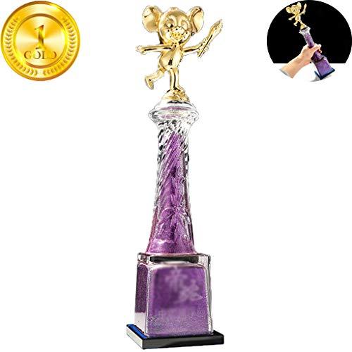 Trofeo Trofeo De Cristal En Forma De Ratón Creativo Celebración De Cumpleaños Para Niños Trofeo De Sorpresa Decoración De Arte De Escritorio Para El Hogar ( Color : Purple , Size : 33*8cm )