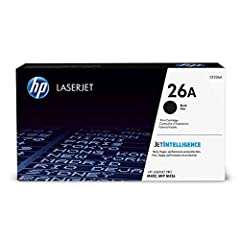 HP 26A (CF226A) toner cartridges work with: HP LaserJet Pro M402, M426. Original HP toner cartridges produce an average of 71% more usable pages than non-HP cartridges. Cartridge yield (approx.): 3,100 pages. Precision black toner that produces crisp...