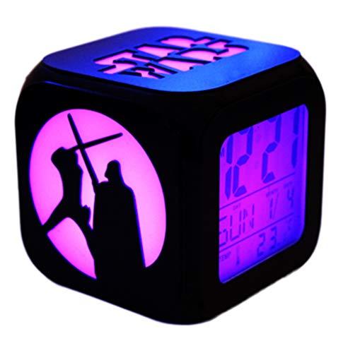 QMMCK Star Wars 3D Stereo Wecker Leise LED Nachtlicht Mode Kreative Elektronische Sieben Farbe Wecker - USB-Lade