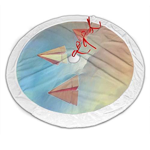 GOWINEU Falda de árbol de Navidad de 48 Pulgadas con Alfombrilla Circular de Origami de Aviones de Papel para Regalo Interior o Exterior para Fiesta de Amigos