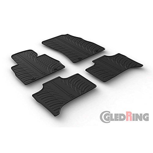 Set tapis de caoutchouc compatible avec Honda Civic Sedan/Hatchback 5/2017- (T profil 4-pièces + clips de montage)