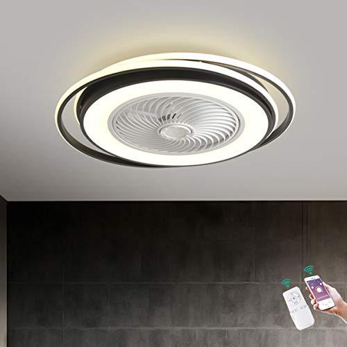 Moderno Ventilador de techo con Encendiendo LED Ligero 64W Regulable con Control remoto Invisible Silencio Ventilador Luces Ajustable velocidad del viento Cuarto Sala Oficina Lámpara Ø62CM,Negro