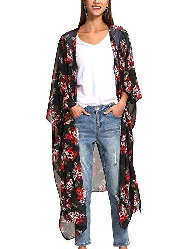 Dames Boho bedrukte sjaalkraag van chiffon kimono lang cardigan zomer kimono bikini cover up tuniek van chiffon casual floral light airy beachwear cardigan S C