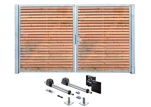 Oprijpoort, verzinkt hout, poort, dwars sym. Elektrische aandrijving met 2 vleugels, 300 x 180 cm.