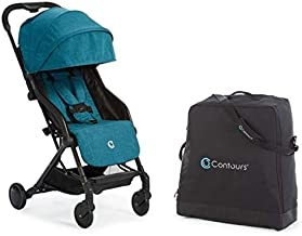 Contours Bitsy Compact Fold Lightweight Travel Stroller + Convenient Collapsible and Water-Resistant Bitsy Travel Bag/Carrying Case, Bermuda Teal/Black