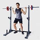 NENGGE Soporte para Barra de Pesas Multifuncion Squat Rack Sentadilla Rack Musculación Jaula de Sentadillas Peso Equipo de Formación Regulable en Altura, Carga Máxima de 300 Kg