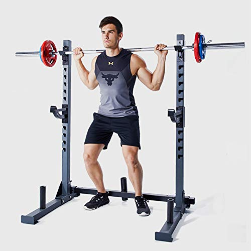 NENGGE Adjustable Squat Rack with Spotters & Dip Bars Multi-Function Barbell Rack Weight Lifting Bench Press Stand Home Fitness Equipment for Indoor Strength Training, 300kg Max Load