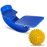 ProHeal Foot Rocker Calf Stretcher with Spiked Ball Massager - for Plantar Fasciitis, Achilles Tendonitis - Calf, Foot, Heel, and Ankle Stretcher - Lower Leg Pain Relief - Blue with Yellow Ball