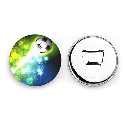 Cool Soccer Ball Round Bottle Openers/Fridge Magnets Stainless Steel Corkscrew Magnetic Sticker 2 Pcs