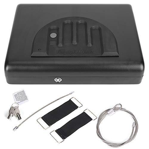 Caja fuerte con sensor de escaneo multifunción portátil para huellas dactilares para automóvil, con alarma de bajo voltaje, para almacenar objetos de valor en el hogar o en el automóvil.