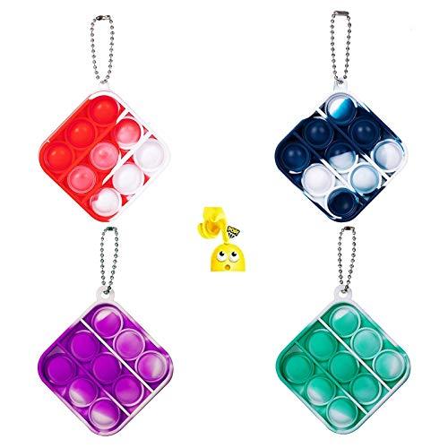 Pin Forest 4 Stück Simple Dimple Pop Zappelspielzeug, Mini Push Pop mit 4 Schlüsselanhänger Mini ,Quetschblase Schlüsselbund Handspielzeug für Kinder Erwachsene Autismus (Blau+Rot+ Grün+Volett)