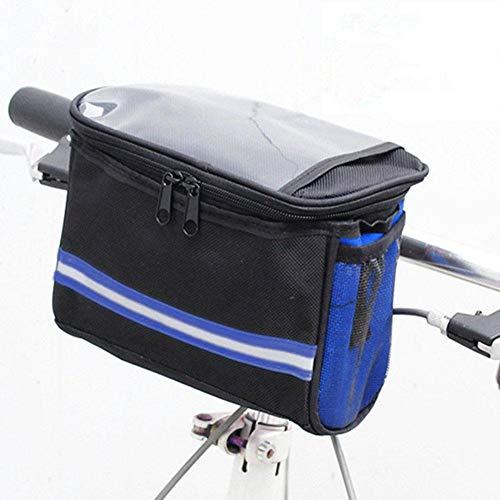 Bolsa para manillar de bicicleta, impermeable, con pantalla táctil de PVC y tiras reflectantes, con correa de hombro extraíble y 2 bolsillos de red para tarjeta de bicicleta de montaña/bicicleta de 22 13,5 16 cm