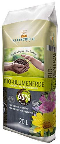 Kleeschulte Bio-Blumenerde 20 Liter - torffrei, 65{6f991b88dbf23e417cca0bfb7682d2d3c1d95d3213bffd12d2dfd302e1de99a0} CO2 reduziert, für alle Zimmer - und Gartenpflanzen, mit organischem Dünger, für eine optimale Pflanzenversorgung