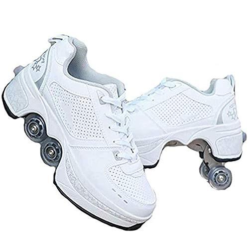 CRXL shop-Heizdecke Kinder und Jugendliche Rollen Skateboardschuhe,Inline-Skate, 2-in-1-Mehrzweckschuhe,Verstellbare Quad-Rollschuh-Stiefel-Männliche Und Weibliche Paare (Color : White1, Size : 40)