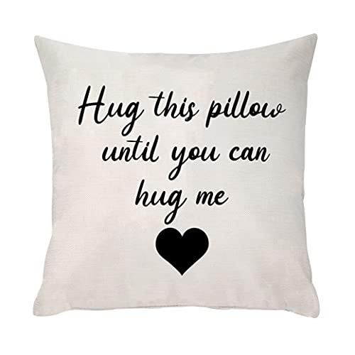Funda de cojín cuadrada para abrazar esta almohada hasta que puedas abrazarme, para novia, novio, esposa, marido, familia y amigos para cumpleaños, Navidad, día de San Valentín