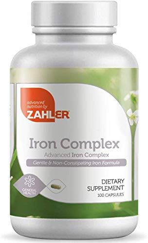 Zahlers Iron Complex, Complete Blood Building Iron Supplement with Ferrochel, Easy on The Stomach Iron Pills with Vitamin C, Optimal Absorption, Kosher Certified Iron Vitamins (100 Capsules)