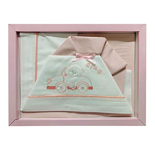 Nada Home - 2516 - Lot de 3 couffins assortis en coton pour bébé Culla-Carrozina rose