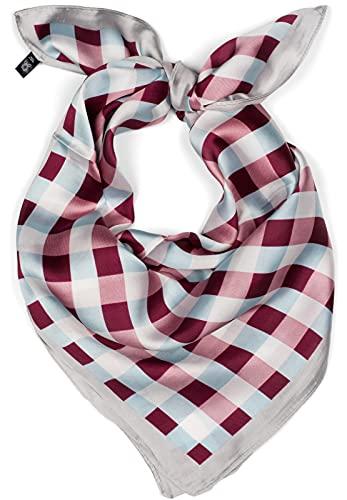 styleBREAKER pañuelo de mujer cuadrado con motivo a cuadros, estilo rockabilly, pañuelo multifuncional, pañuelo para el cuello, pañuelo para la cabeza, bandana 01016172, color:Rojo vino-azul claro